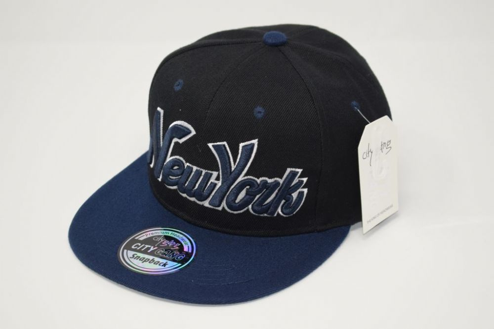 C4874- New York 'Black/Navy' Snapback Cap one size fits all adjustable 20% cotton, 80% polyster